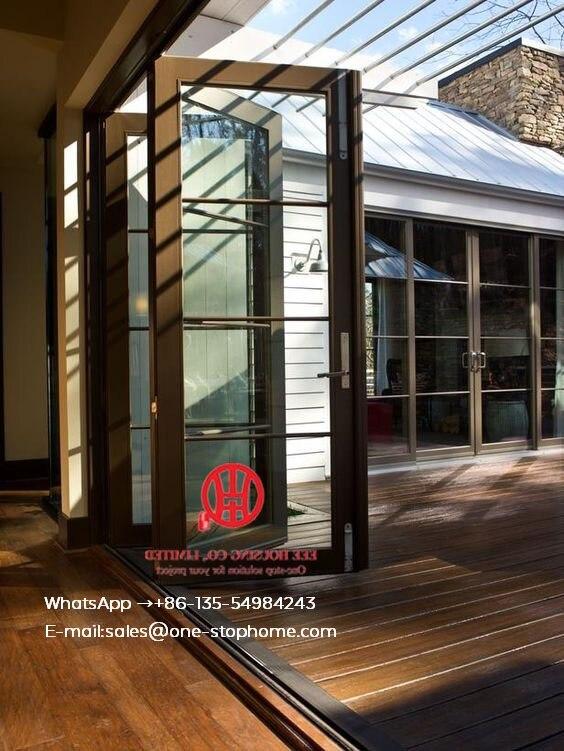 Aluminum Bifold Doors With Glasses Integrated,prefabricated Bi Folding Door With Aluminium Alloy Frame,outdoor Folding Door