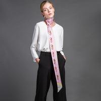 Fashion Carriage Printed 100 Silk Twilly Narrow Long Silk Scarf Neckerchief Women Charming Scarves Wraps Clothing