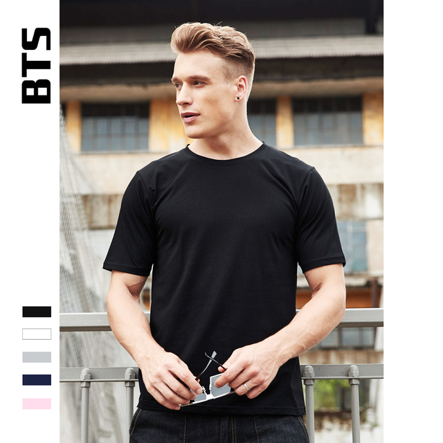 014e4ac2812 BTS T-shirt Men Black Summer T Shirt Men Short Sleeve Solid Casual White  Tshirt Men Pure Cotton Tee Shirt And Tops Plus Size