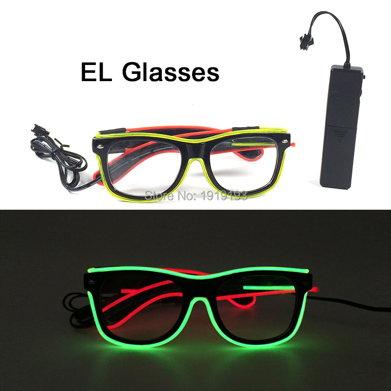Popular Fashionable Christmas Decor Glowing Neon LED Sound Active Sunglasses Holiday Lighting EL wire Glasses for Carnival,Club