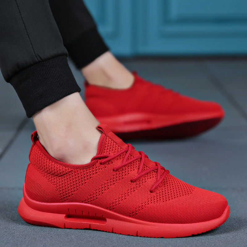Ultra Light Vulcanize Shoes Men Italy Designer Spring Korean Version Shoes Fashion Flyweather Low Top Sneakers White Red(China)