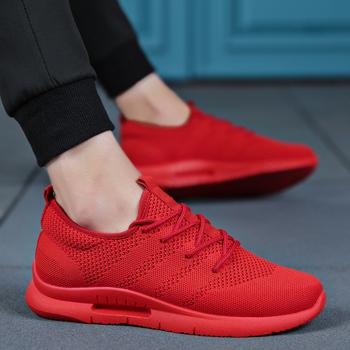 Tenis Masculi światła buty wulkanizowane mężczyźni włoski designer wiosna koreańska wersja buty moda Flyweather niskie buty sportowe biały czerwony tanie i dobre opinie BLOOMNEXT Mesh (air mesh) light Stałe Dla dorosłych Syntetyczny Wiosna jesień Lace-up Niska (1 cm-3 cm) Pasuje prawda na wymiar weź swój normalny rozmiar