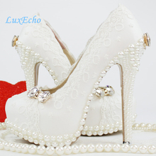2014 spring and summer aesthetic crystal bow pearl shoes wedding shoes bridal white lace party shoes wedding shoes white diamond crystal pearl high heel waterproof table adult shoes wedding shoes bridal shoes