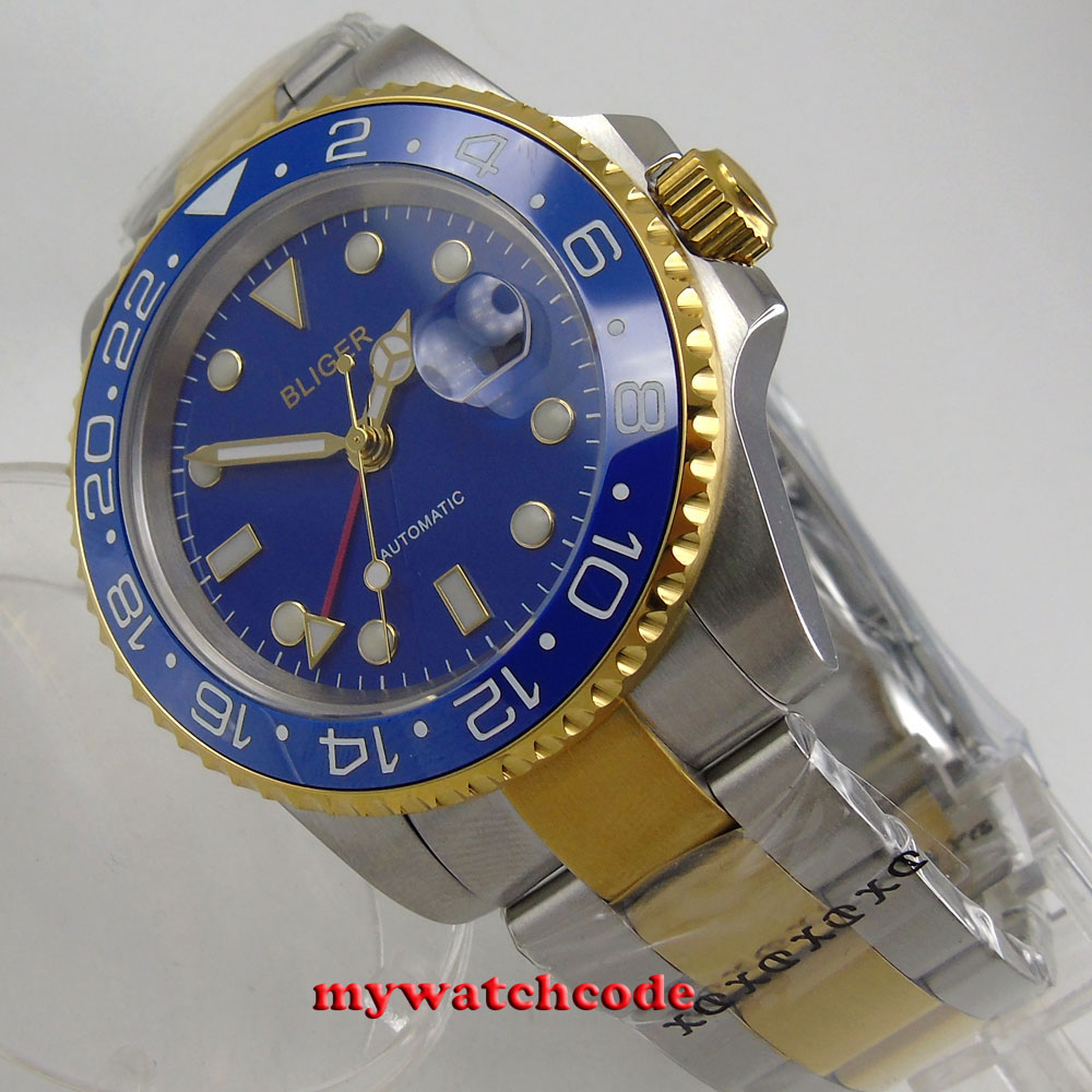 40mm bliger blue dial sapphire glass ceramic bezel GMT date automatic men watch vintage printing long sleeves shirt