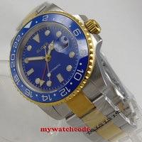 40mm bliger niebieska tarcza szafirowe szkło ceramiczna ramka szkiełka zegarka GMT data automatyczny zegarek męski w Zegarki mechaniczne od Zegarki na