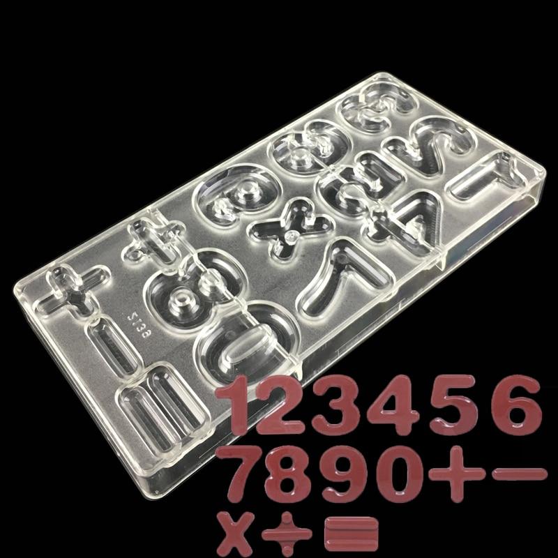Número diy 3d de plástico em forma de moldes de chocolate de policarbonato pc ferramentas do cozimento do bolo de chocolate decoração moldes