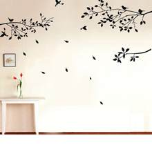New Fashion Design Black Tree Branches Birds Leaves Home PVC Wall Paper Sticker Window Door Decal Living Room Art DIY Decoration(China)