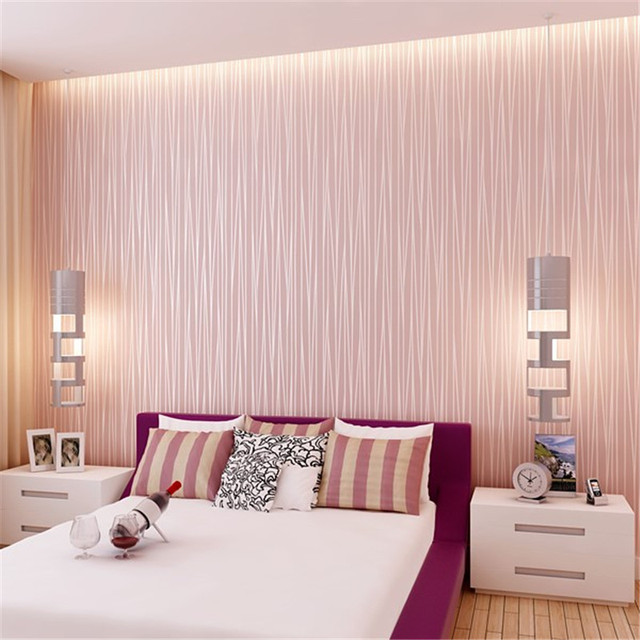 Deep Embossed Pink Wallpaper Roll living room paper Wall covering ...