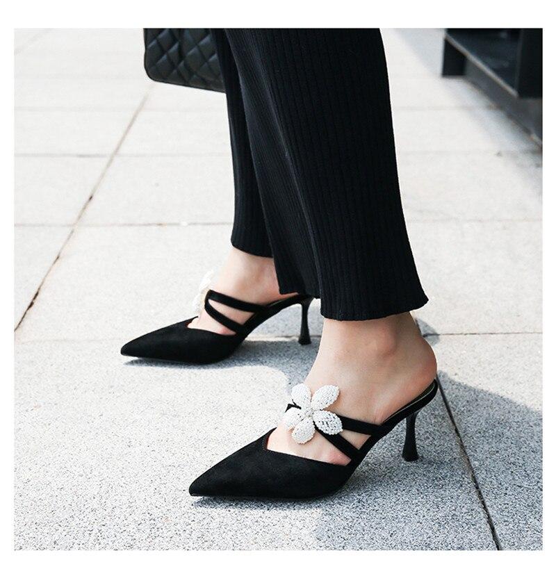 Point Mode Toe Fleurs Lazyman Femmes Nouvelle Talon Chaussons Mules À Black Chaîne Perle Mince Outwear qwfrTxf70Y