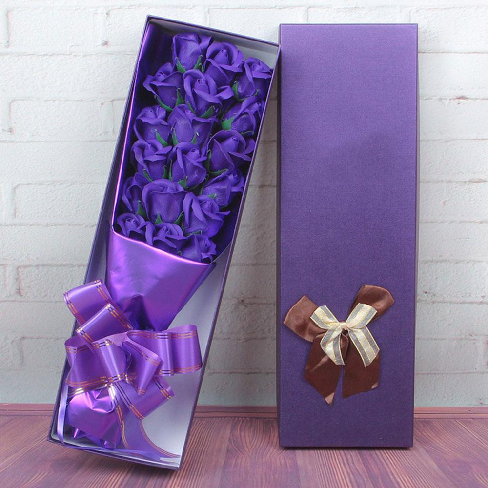 Мыло в Форме Розы Ароматизированный цветок розы в подарочной упаковке 18 шт. вечность c розами, подарок на праздник поздравление День Святого Валентина подарок украшение - Цвет: purple
