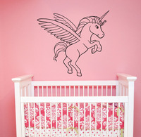 Flying Unicorn Decal Removable Vinyl Wall Sticker Little Pony Wall Art Cute Horse Decorations For Kids