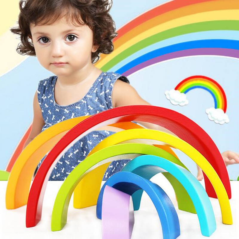 Colour Sort Rainbow Blocks Kids Children Wooden Toys Circle Set Creative Educational Toy
