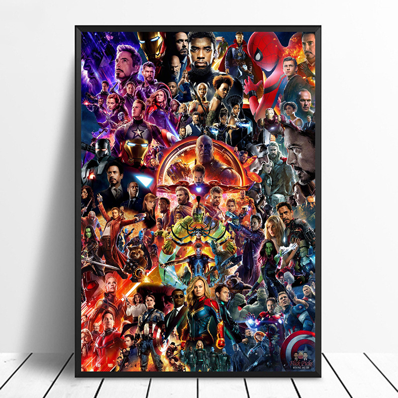Marvel Cinematic Universe COLLAGE Poster Avengers End Game Movie Art - Superhero Art Silk Print