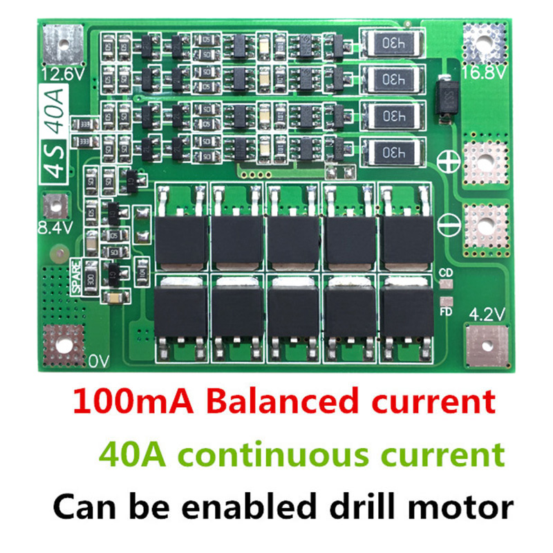 4S 40A Li-ion Lithium Battery Charger Module Protection Board PCB BMS 18650 Lipo Cell Module W/Balancer For Drill Motor