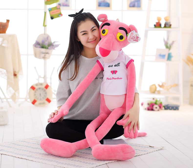 stuffed animal 140 cm pink panther with cloth plush toy soft doll throw pillow b1463 stuffed animal 120cm brown lying sleeping dog plush toy soft throw pillow w2302