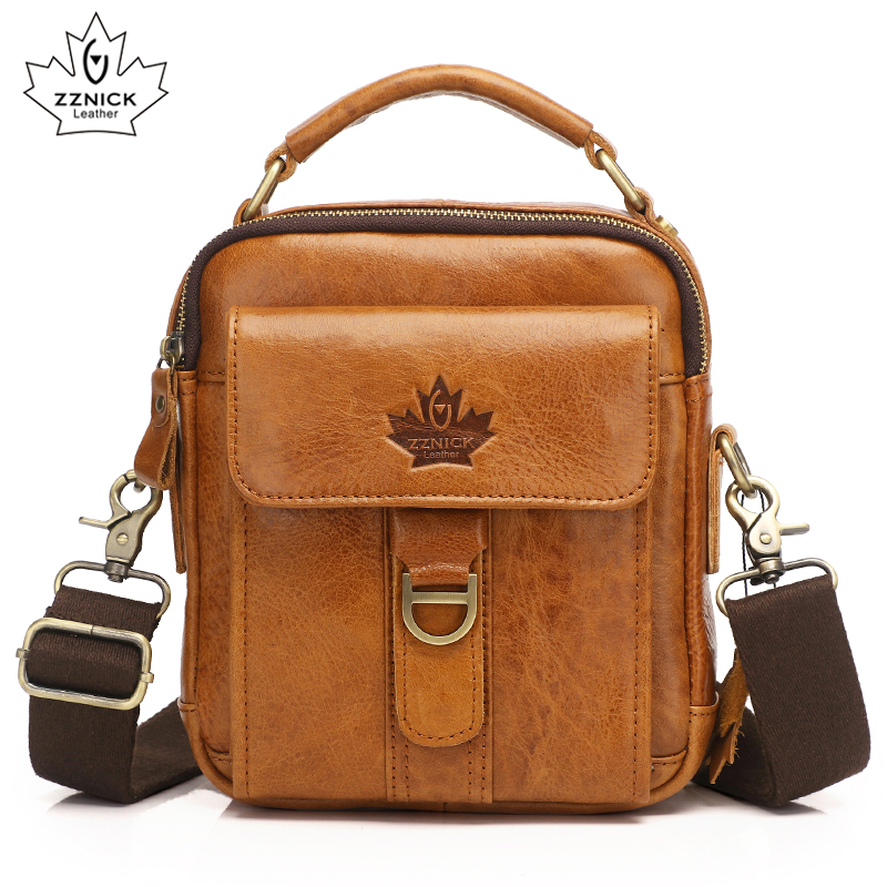 Genuine Leather Mens Bags Male Crossbody Bags Small Flap Casual Shoulder Bag genuine leather Skin Messenger Bag Mens ZZNICK ...