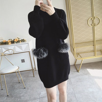 2018 Autumn Long Sleeves sweater dress Rabbit Fur Jumpers Pull Women long Sweaters And Pullovers Clothing Femme dress 0725 80