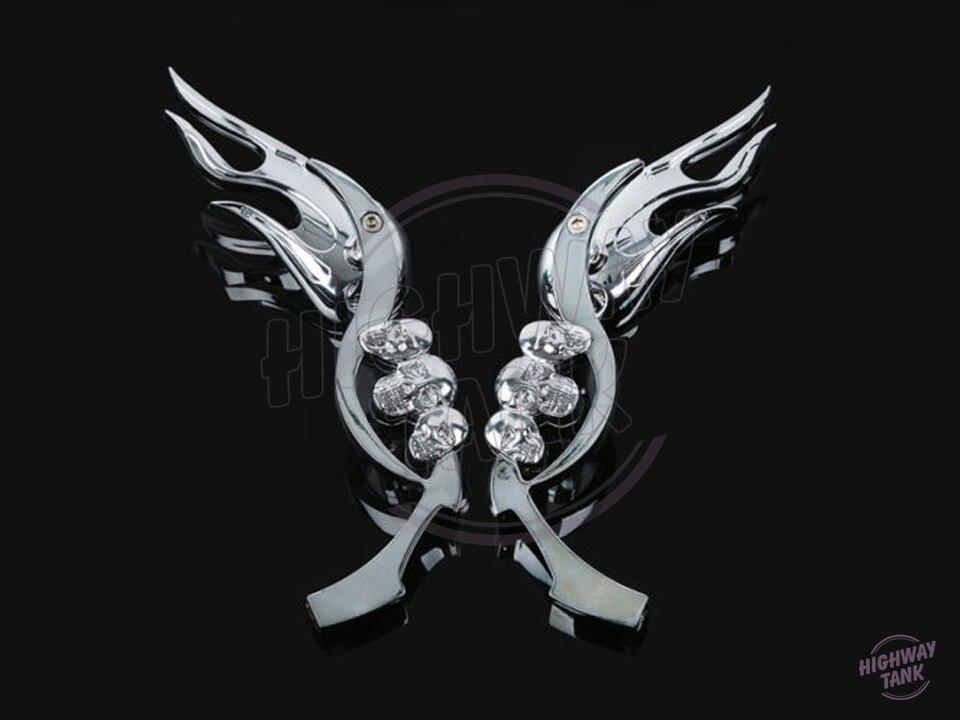 Black 3D Skull Hand Custom Mirrors for Honda Motorcycle Cruiser Scooter Shadow
