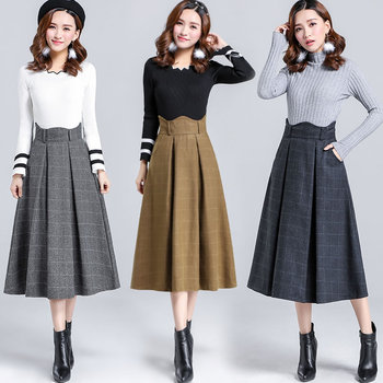 Free Shipping 2019 New Fashion Women Woolen Skirt Casual A-line Long Mid-calf Skirts Winter Warm Plaid Thick Skirts Blue Khaki free shipping 2020 new fashion wool elegant long mid calf women skirts pencil s xl high waist autumn and winter striped skirts