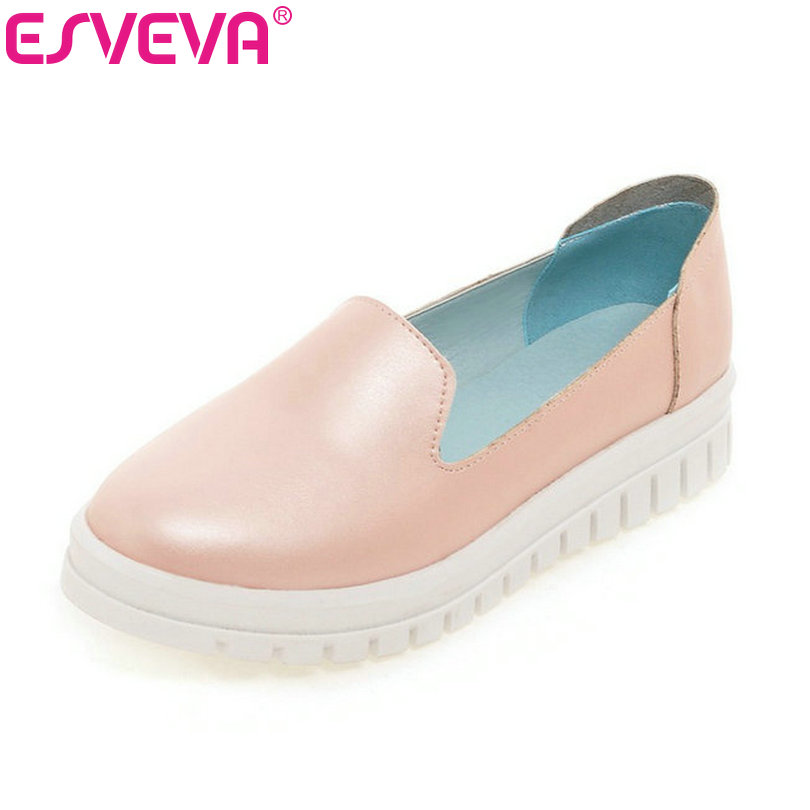 Newest Lady Spring Autumn Shoes Slip on  Lady Soft Leather Flat Platform Fashion Casual Shoes Women Round Toe Loafers Size 34-43 size 35 39 pointy toe flat platform shoes pigskin leather shoes black white color slip on women s shoes