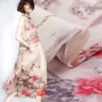 Digital inkjet silk linen fabric crisp dress linen fabric breathable silk fabric for dress natural linen fabric silk cloth