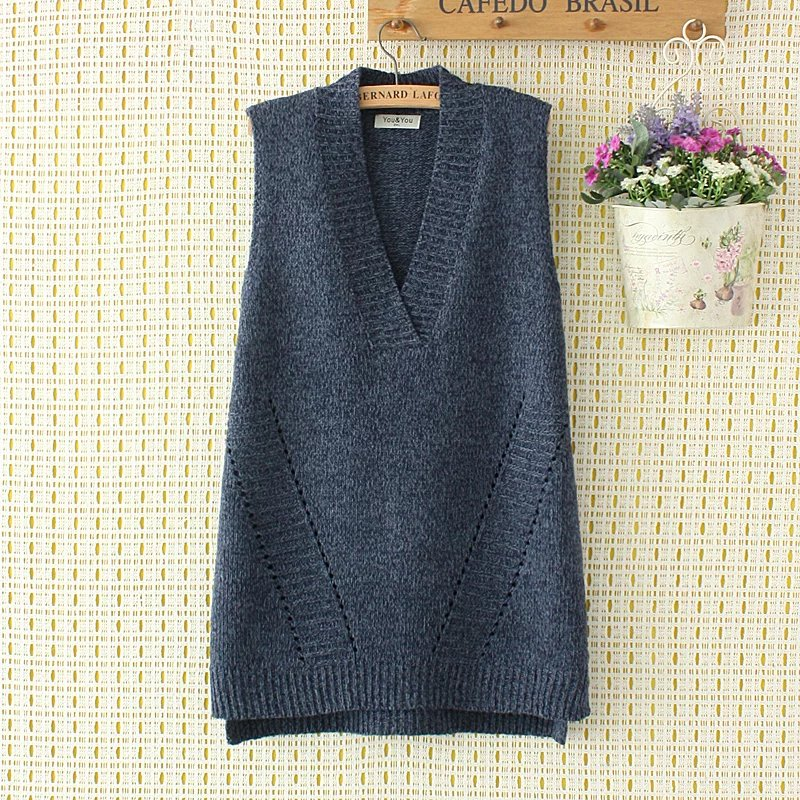 Plus Size Spring Big Loose Vest Sleeveless Solid Color Sweaters 2017 New Fashion Knitted V Neck Wool Female Top Wear Pullovers