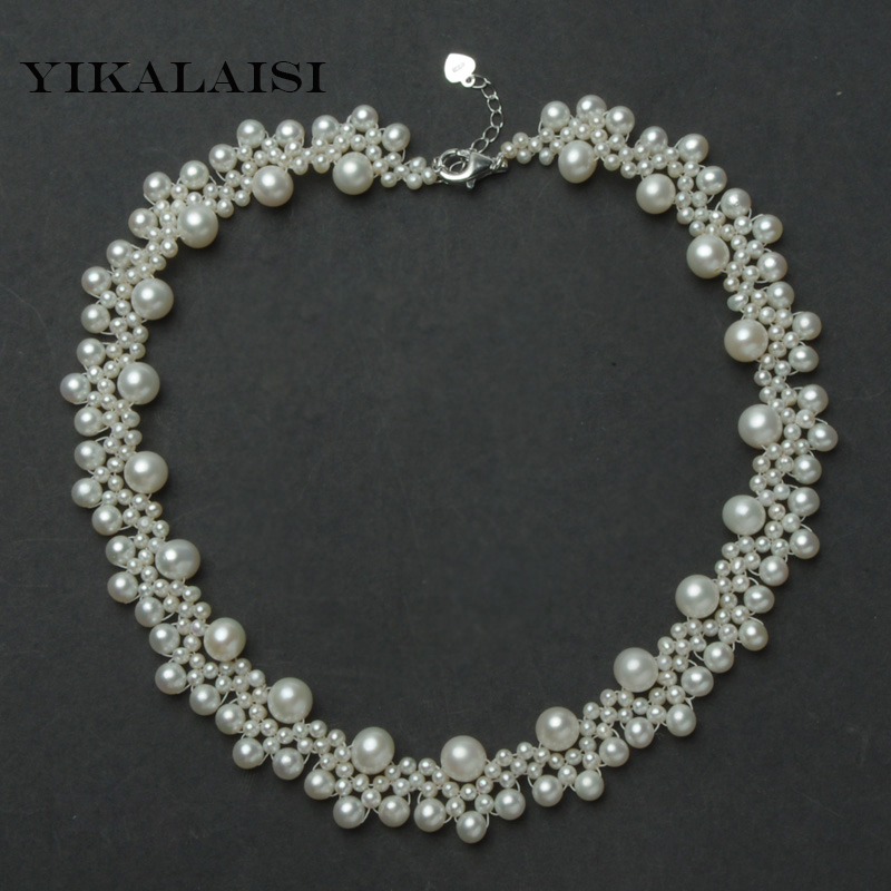 YIKALAISI 2017 100% Natural Freshwater Pearl Necklace 3-4mm,4-5mm,7-8mm Real Pearl 45 CM real Silver Jewelry For Women best gift толстовка wearcraft premium унисекс printio gothic girl