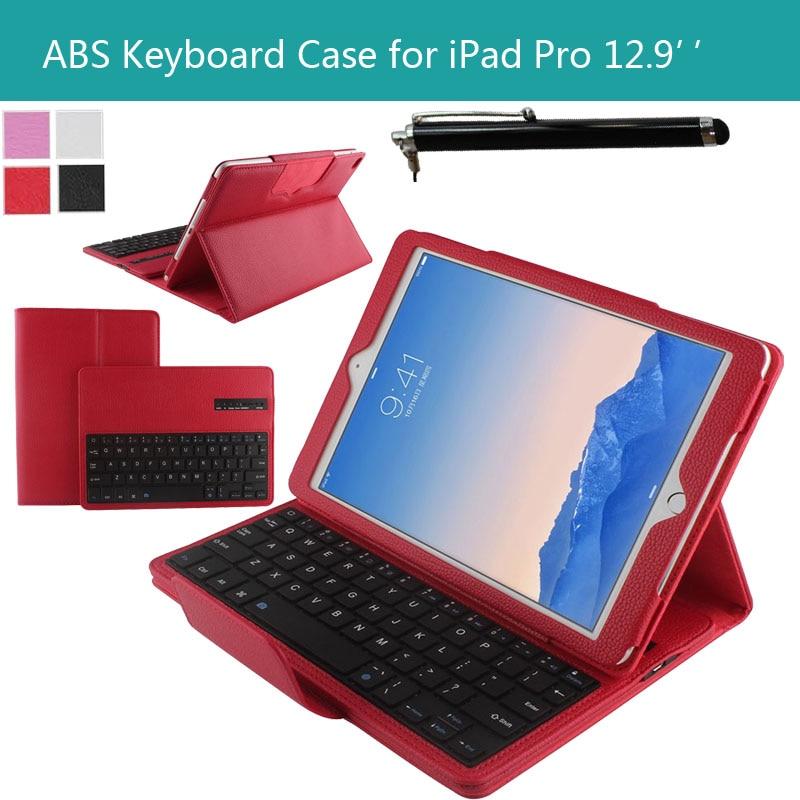 ФОТО Magnetically Detachable Hidden Wireless Bluetooth Keyboard Muti-angle Folio PU Leather Case Smart Cover for Apple iPad Pro 12.9