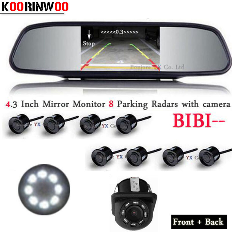 цена на Koorinwoo HD CCD Auto Parktronic Car Parking Sensors 8 Probes Video System Monitor Front Camera Car Rear view Camera LED Lights