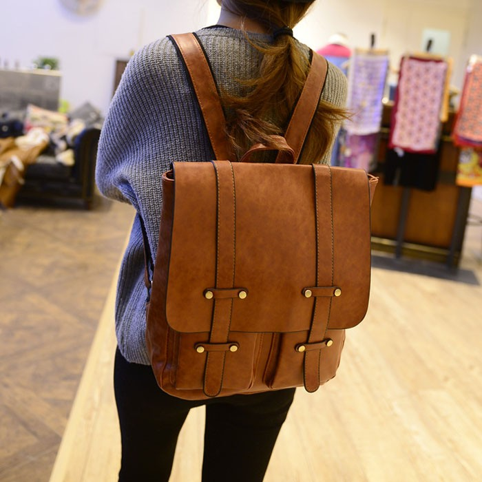 New Arrival good looking retro fashion simple PU women backpack shoulder bags in soild color for