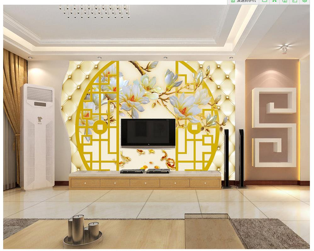bathroom 3d wallpaper 3D magnolia color carved fish TV wall 3d ...