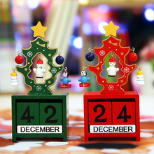 Christmas Tree Ornaments Calendar Wooden Christmas Party Decorations Gift Blocks of Children Baby Shower