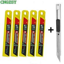 Cngzsy 1pc arte utilitário faca 50 pçs lâminas para papelaria escola gráficos de papel escritório diy cortador de filme carro vinil corte e02 + 5e03