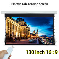 Full HD 130inch 16 By 9 Tensioned Auto Projection Projector Screen Wireless Remote Control For Home