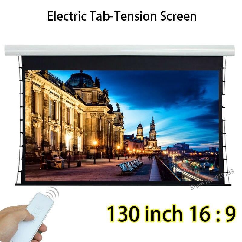 Full HD 130 polegada 16 Por 9 Tensionada Auto Projetor Tela de Projeção Com Controle Remoto Sem Fio Para Home Theater