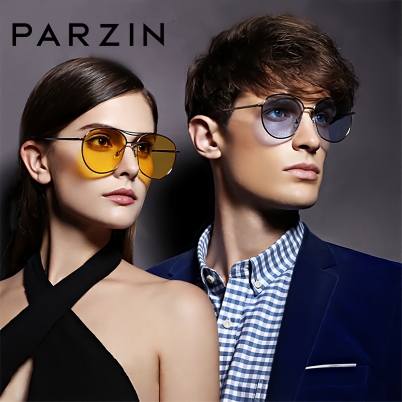 PARZIN Brand Fashion Colorful Oval glasses For Women Big Alloy Frame Design Coating Sunglasses With Box