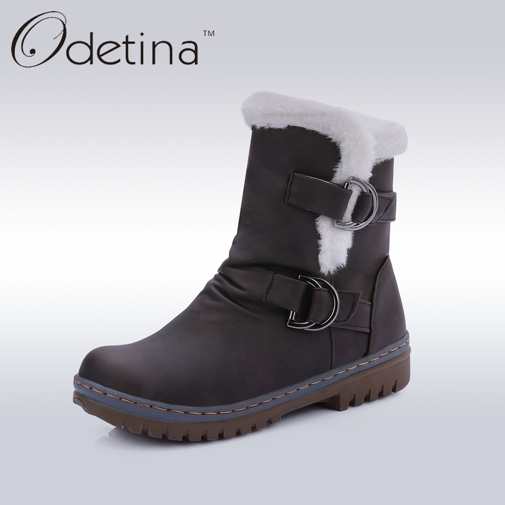 цены  Odetina Brand Buckle Strap Women Boots with Fur Lined Ankle Boots for Women Fur Shaft Snow Boots Flat Warm Women Winter Shoes