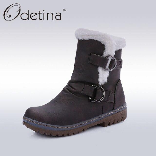 Odetina/бренд Туфли с ремешком и пряжкой Для женщин Сапоги и ботинки для девочек с Мех внутри на женские ботильоны Мех вал Снегоступы без каблука Теплая женская зимняя обувь