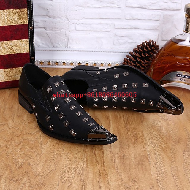 Choudory European Metallic Black Loafers Mens Rivets prom Shoes Dress Wedding Formal Shoes Men Luxury Brand Size12