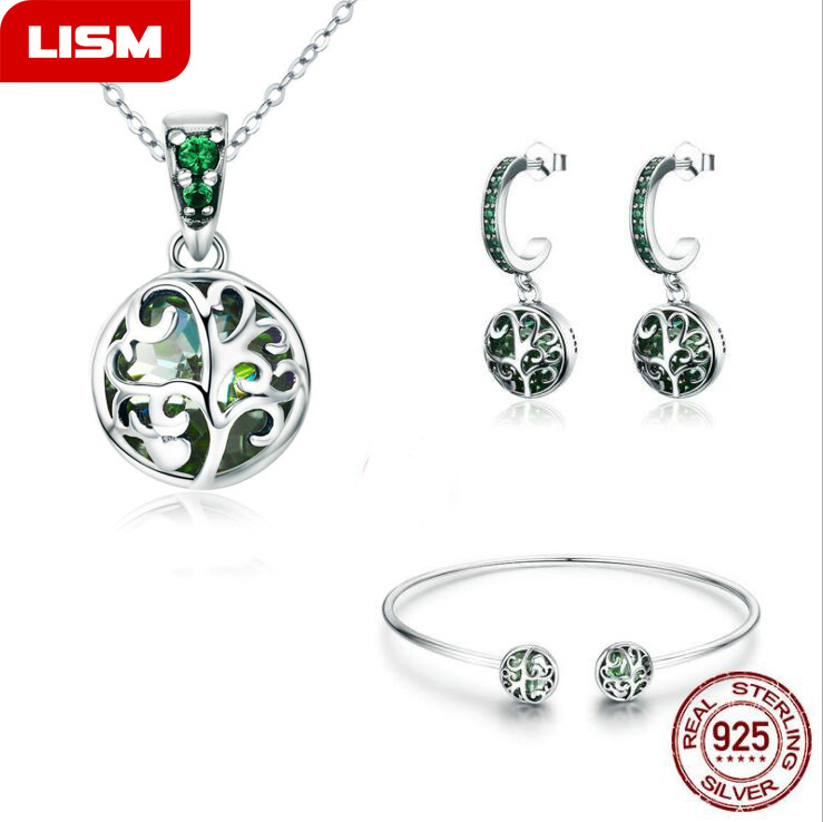 Authentic 925 Sterling Silver Sets Luxury Tree of Life Green Crystal AAA CZ Jewelry Set Sterling