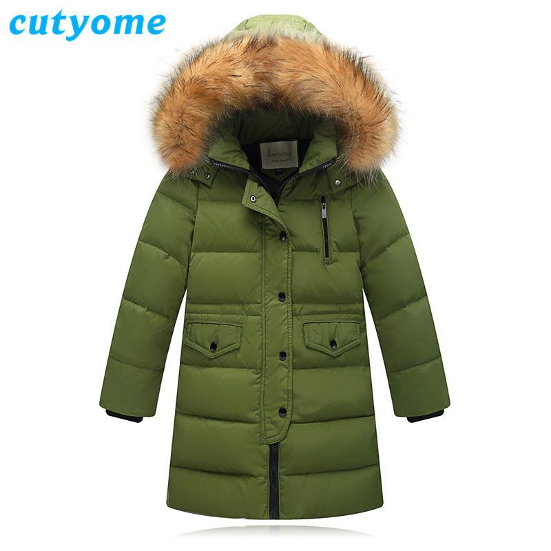 Teenage Boys Girls Long Down Warm Jackets Cutyome Winter Fur Collar Hooded Casual Parka Coats Children Outdoor Down Jacket Parka