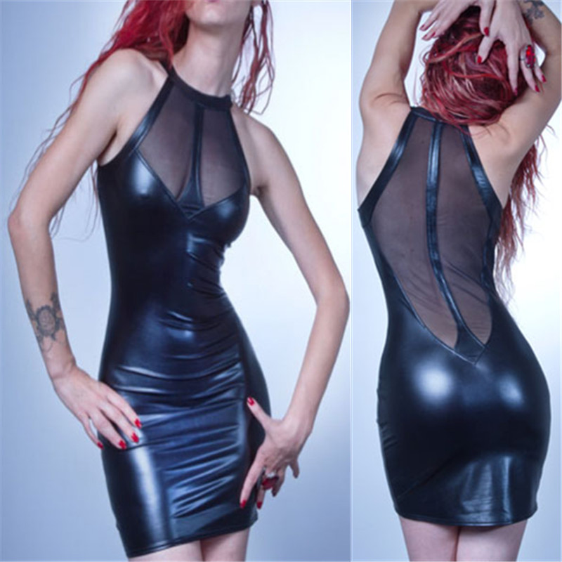 Sexy Faux Leather Lace Perspective Mini Dress Vinyl Wetlook Bodycon Sheath Clubwear Nightclub Dresses Size S-2XL