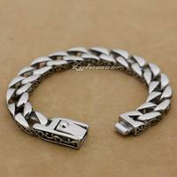 12 Length 316L Stainless Steel Curb Cuban Link Mens Biker Bracelet 5C020(Length 9.2inch)