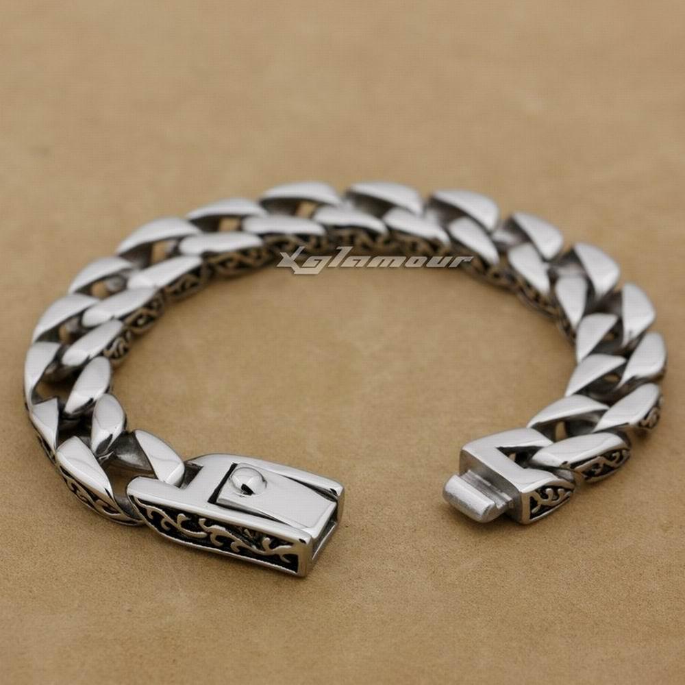 Bracelet de motard des hommes de lien cubain de bordure d'acier inoxydable de 12 longueurs 316L 5C020 (longueur 9.2 inch)