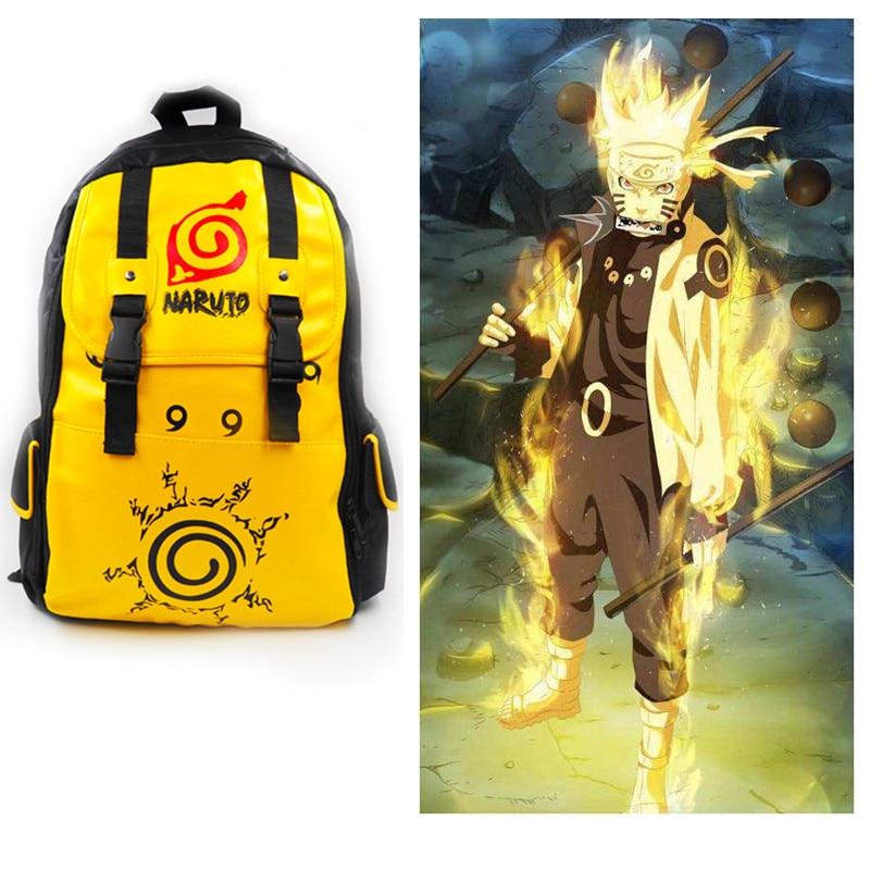 Anime NARUTO Rikudousennin Modo Uzumaki Naruto Kurama kyuubi Cosplay Prop Backpack Women Men knapsack Large Capacity Mochila Bag