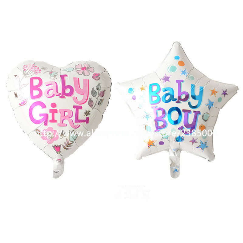 25pcs/lot 18 inch heart shaped baby girl and star baby boy baby boys and girls b