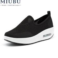 MIUBU Women Sneakers Fashion Platform Casual Shoes Mesh Low Top Slip on Increasing Ladies White Gray Red shoes Designer