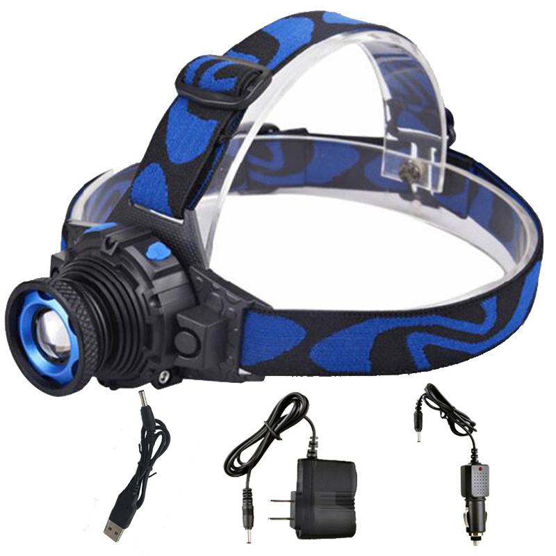 ZK20 Dropshipping 3000LM CREE Q5 LED Headlamp Frontal Flashlight Rechargeable Zoomable Headlight Batri Adeiladu Mewn Batri yn RU