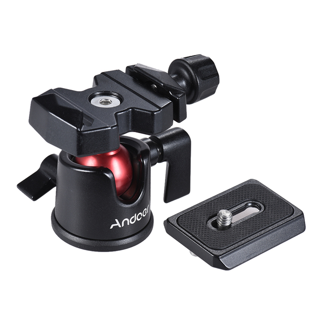 Andoer Mini Ball Head Ballhead Tabletop Tripod Stand Adapter w/Quick Release Plate for Nikon Sony Canon DSLR Camera Camcorder