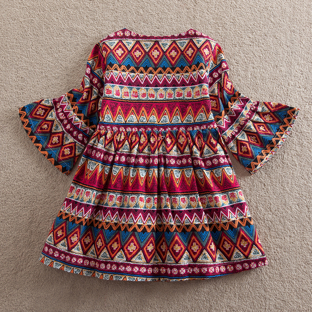 Girls Dresses Boho Featuring Girls Long Sleeves Dress Stripes Princess Fashion Dress Baby Girls A-Line Dresses Bell Sleeve